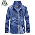 AFS JEEP 2016 cowboy style Europea otoño marca ocasional de los hombres camisa azul de primavera hombre de buena calidad 100% de algodón de manga larga camisas