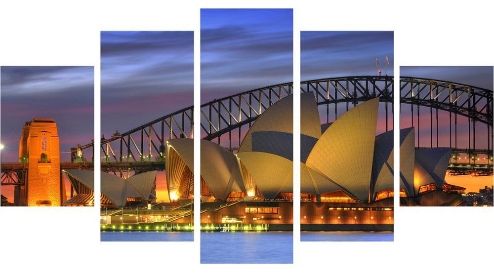 Lukisan Minyak yang Tidak Dibingkai Pelabuhan Jembatan Kanvas Cetakan - Hiasan rumah - Foto 3