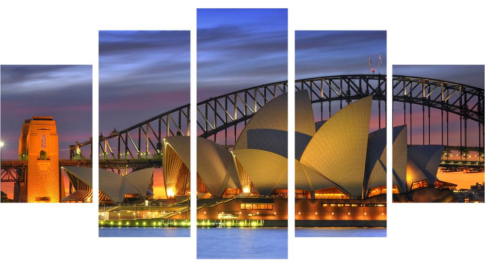 Unframed Oil Painting Harbour Bridge Canvas- ը Տպում է - Տնային դեկոր - Լուսանկար 3
