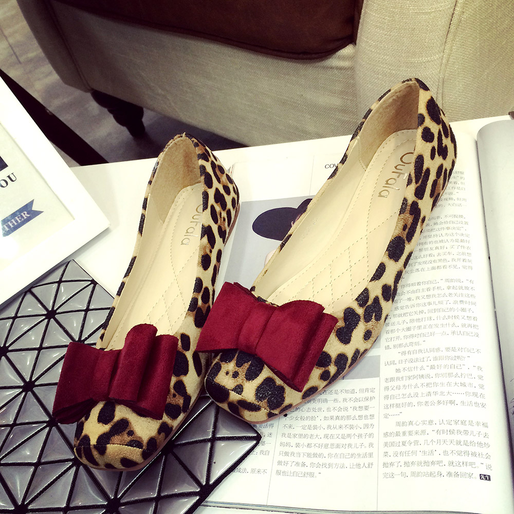 Big Size 41 Leopard Flat Shoes Women Suede Square Head Flat Shoes Spring And Autumn Bow