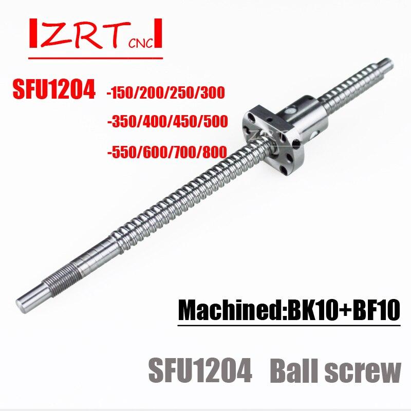 SFU1204 150 200 250 300 350 400 450 500 550 600 650 700mm C7 ball schraube mit 1204 flansch einzigen kugelmutter BK/BF10 ende bearbeitet