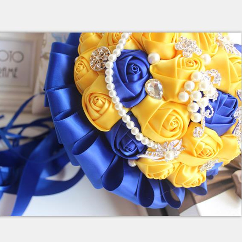 Yellow Royal Blue Wedding Bouquets With Crystal Bridal Bouquets