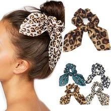 2019 kobiet leopard ucha opaski do włosów bunny gumki do włosów dziewczyny nadruk królika akcesoria kucyk Holder girls haar accessoires