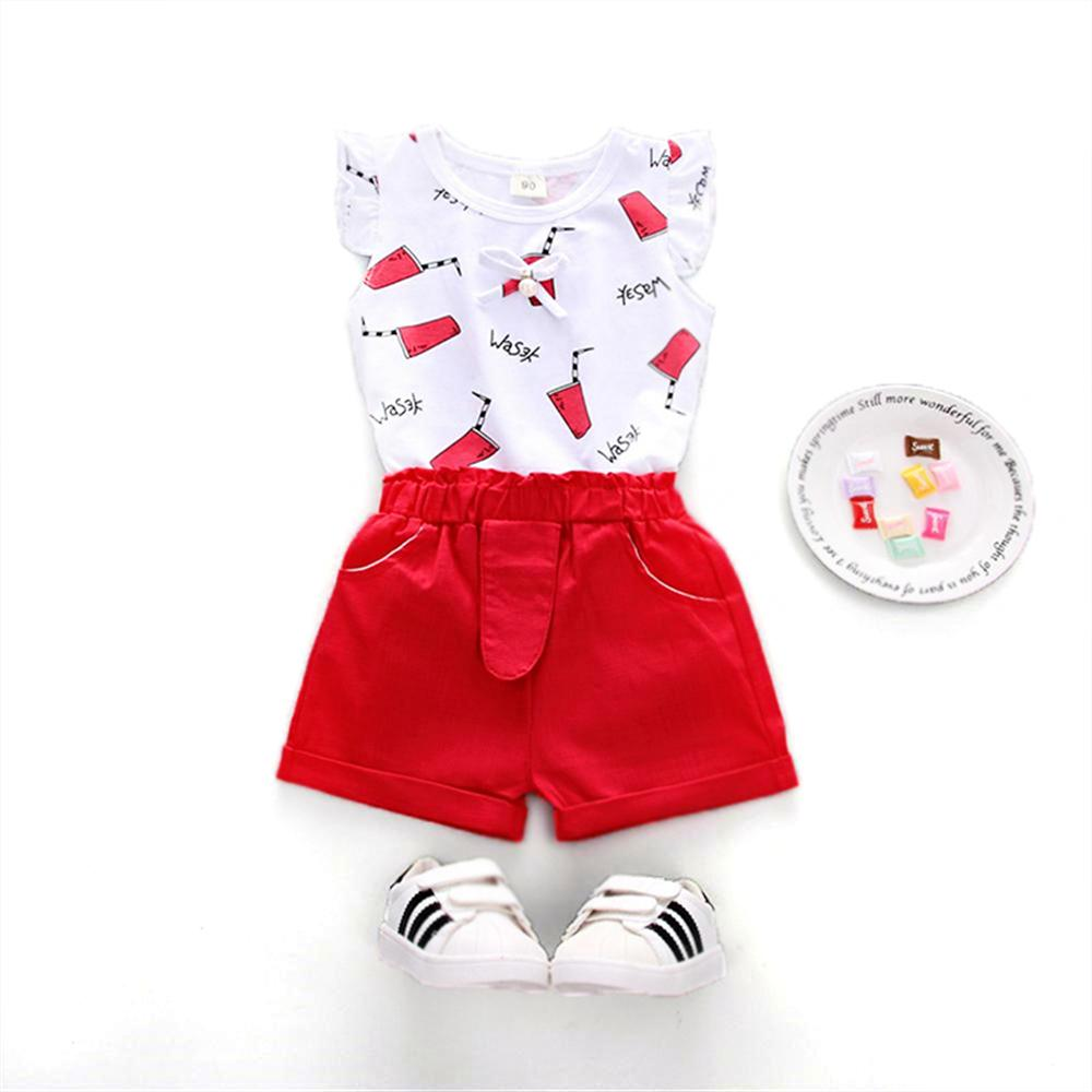 Girls Suits 2018 New Summer Style Beautiful Pattern O-Neck Sleeveless T-Shirt+Pants 2 Pcs Kids Clothing Sets Children Clothing fashion girls new suit tops and pants 2 sets flare sleeve lotus leaf pattern o neck lace bass pants street style girl clothes