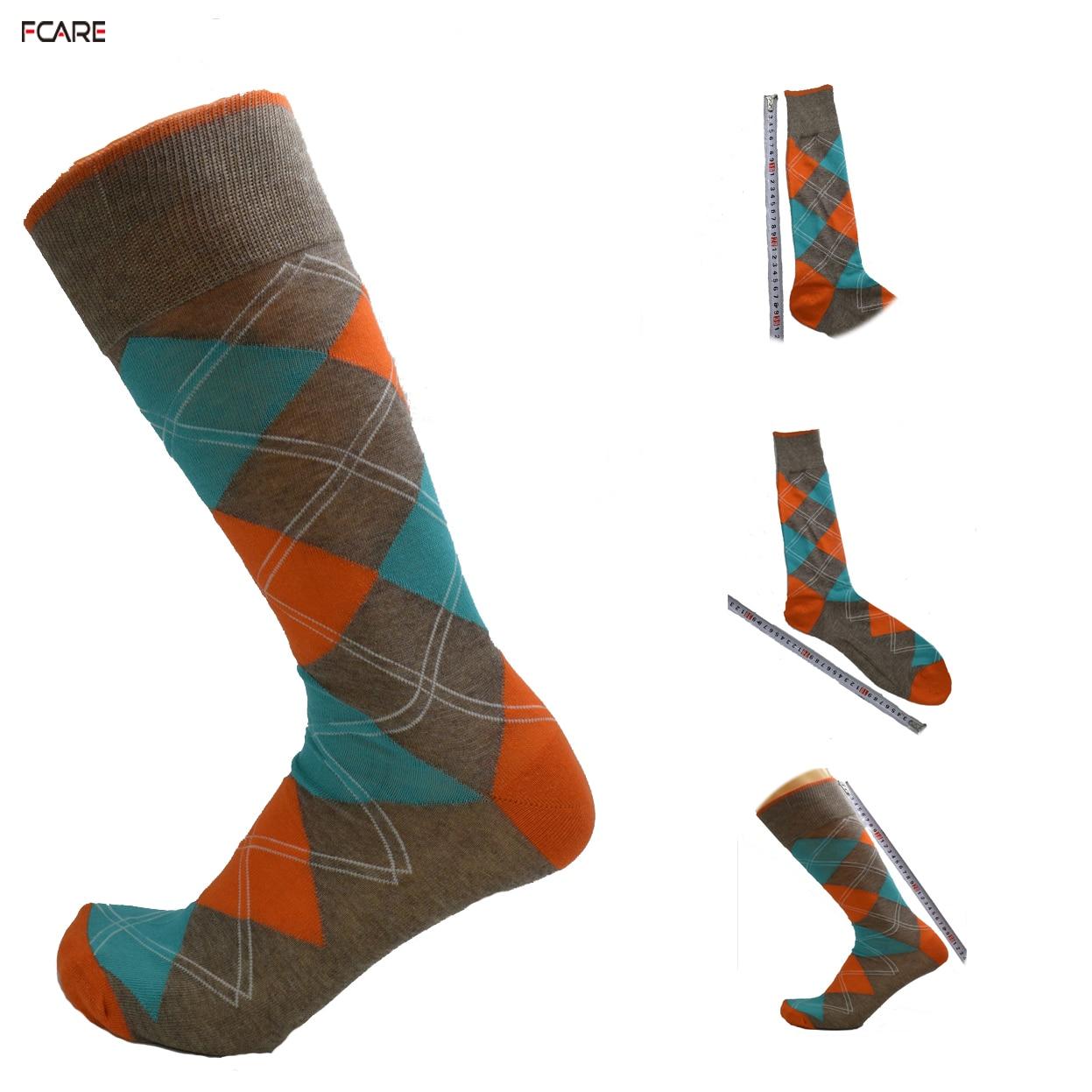 Fcare 1pair calcetines Mens crew plus size big Spring autumn winter long leg business crew socks