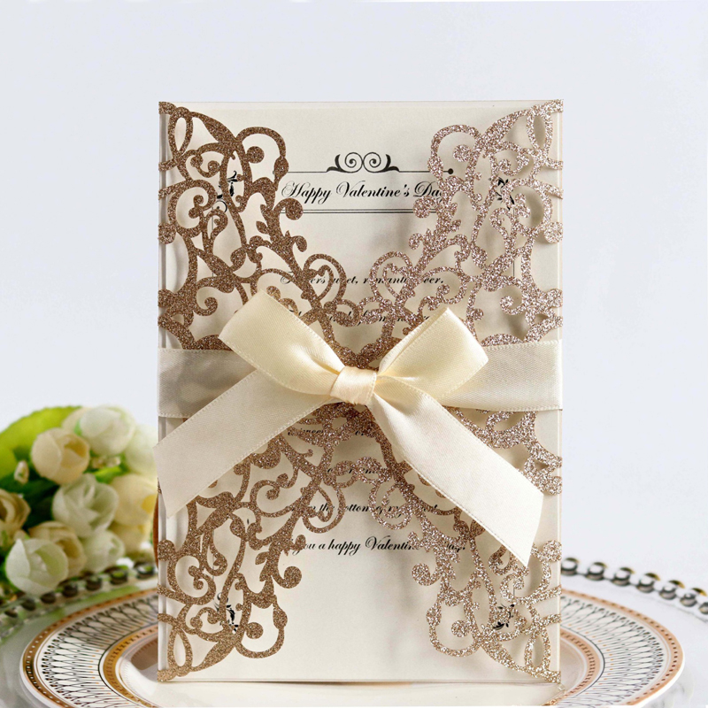 Us 0 44 36 Off 1pcs Gold Blue Silver Glitter Paper Laser Cut Wedding Invitation Card With Ribbon Personalized Decor Party Supplies In Cards