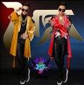 S-5XL 2015 NEW HOT Men singer BIGBANG right Zhi-Long TOP diamond imports velvet gown costumes Tabard coats nightclub clothing