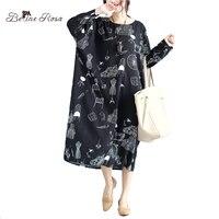 BelineRosa של 2017 נשים שמלות גודל גדול שמלות רופפות בסגנון אירופאי הדפסת האופנה שמלת 4xl בתוספת גודל 3xl BSDM0038