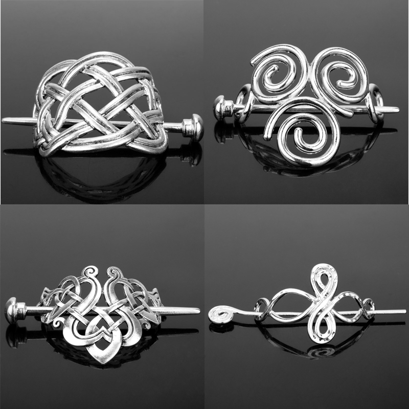 Celtics Knots Stick Slide Hairpins Metal Viking Hair Clips Hair Decor Accessories Jewelry Gift