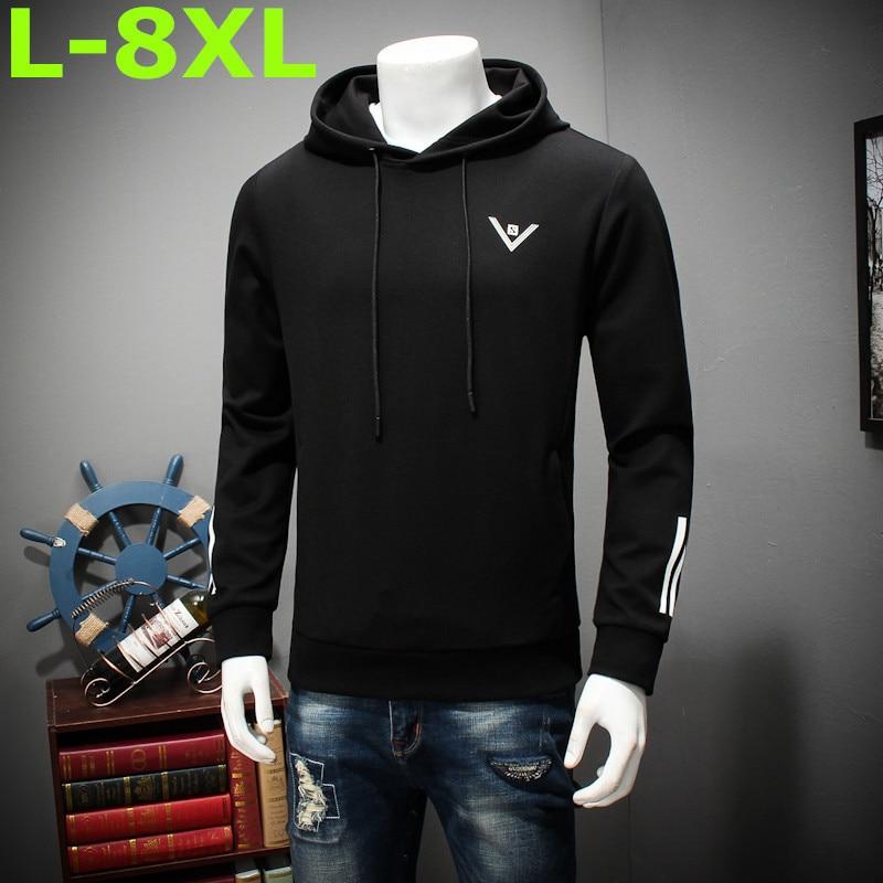 new plus size 8XL 7XL 6XL Shirt Men Brand Fashion Men'S Hooded Stitching Design Tops & Tees Shirt Men Long Sleeve Slim Male Tops