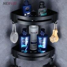 Aluminum Bathroom Shelf Black Single Dual Tier Corner Shower Shelves hook Wall Mounted Rack