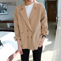 SISPELL Knitted Female Cardigan Double Breasted Turn Down Collar Sweater Woman Long Sleeve Pockets OL Clothes
