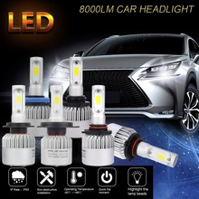 цены  H4 Hi-lo LED Car Headlight Bulbs Kit Beam H7 9005 HB3 9006 HB4 H11 H9 H8 LED Chip Auto  Conversion Kit Replace for Halogen bulb