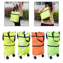 2017 Oxford Foldable Bag New Reusable Shopping Bag Trolley Bags On Wheels Shopping Bags Cart