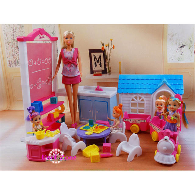 US $29 68 43% OFF|New Arrival Girl Toy Dollhouse Miniature Furniture Happy  School Day for Barbie Dolls House Classic Girls Toys Free Shipping-in Dolls
