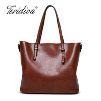 Teridiva Fashion Women Brand Shoulder Bags High Quality PU Leather Vintage Bag Oil Waxing Women S