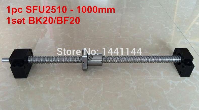 SFU2510 - 1000mm ballscrew + ball nut with end machined + BK20 BF20 Support sfu2510 1200mm ballscrew ball nut with end machined bk20 bf20 support