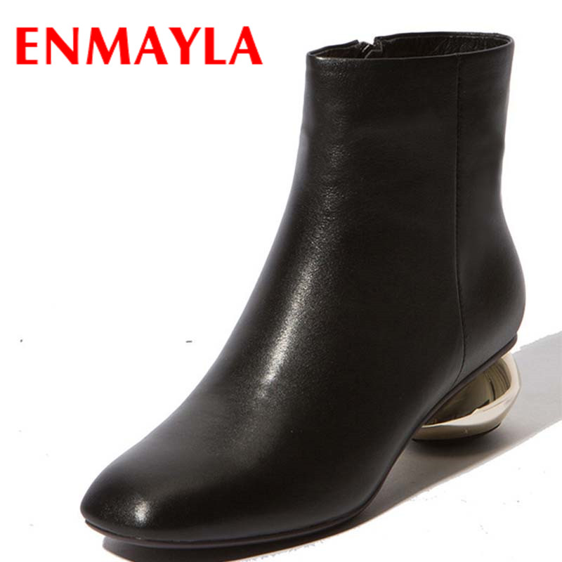ENMAYLA Autumn Spring Boots Women Low Heels Square toe Ankle Boots for Women Fashion Shoes Black Gray Short Women Boots enmayla autumn winter chelsea ankle boots for women faux suede square toe high heels shoes woman chunky heels boots khaki black