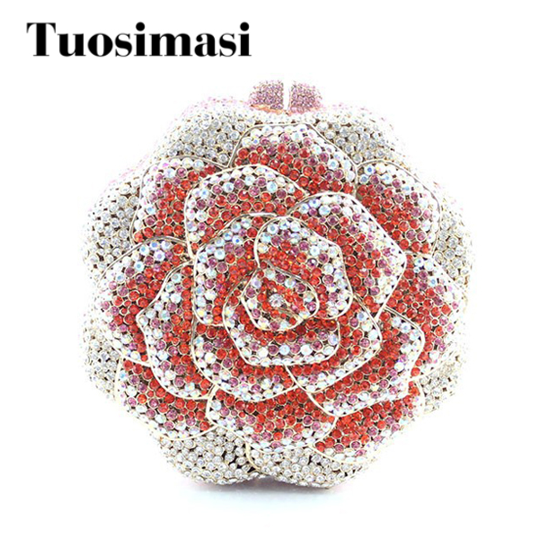 Beautiful Multi-Color Handmade Hard Case Ladies Crystal Rose Flower Shape Evening Clutch Bag beautiful rose shape flower ladies bridal wedding party crystal clutch evening bag 8679a g