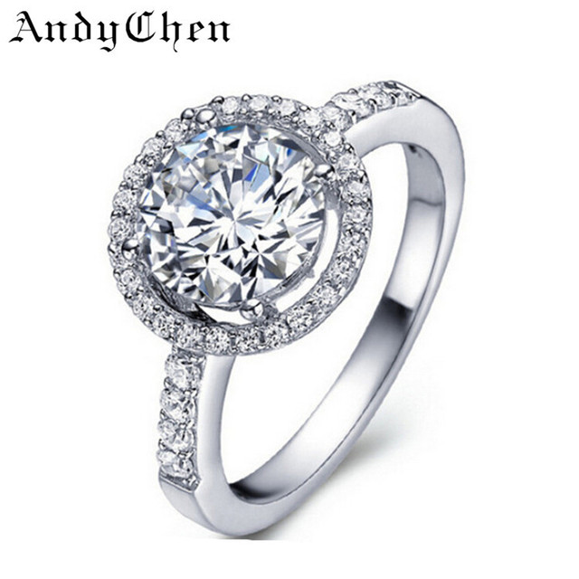 AndyChen Jewelry Silver Color Luxury Wedding Rings for Women Round