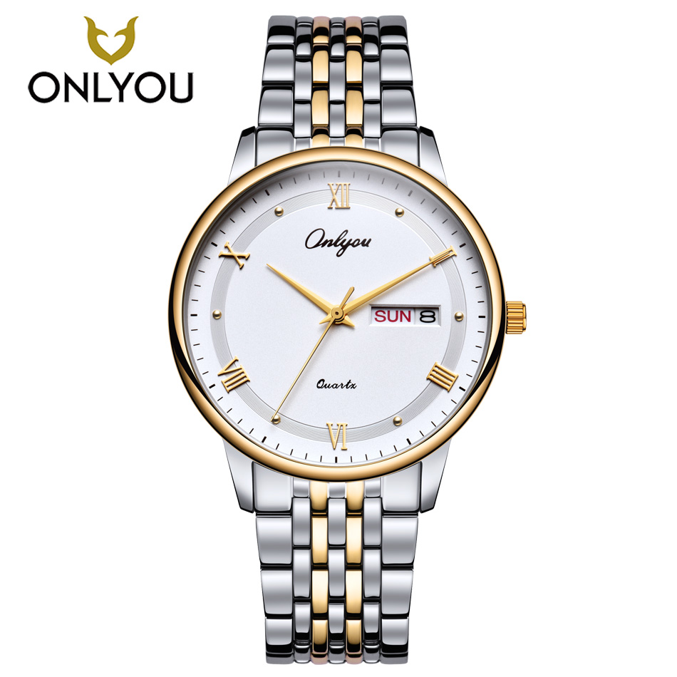 ONLYOU Men Watches Top Brand Luxury Stainless Steel Watch Band Gold Women Watch Business Casual Waterproof Quartz Wristwatch