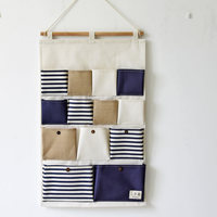 78 5 45 5CM Stripe Joining Together Storage Bag 1PC 13 Pocket Cotton Linen Zakka Wall