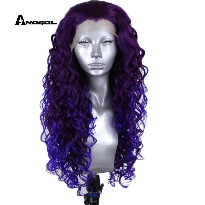 Anogol fioletowy darmowa część wysokiej temperatury włókna wdowa szczyt 360 Frontal długie głębokie Wave pełne włosy peruki syntetyczne koronki przodu peruka w Brak Lace Peruki syntetyczne od Przedłużanie włosów i peruki na AliExpress - 11.11_Double 11Singles' Day 1