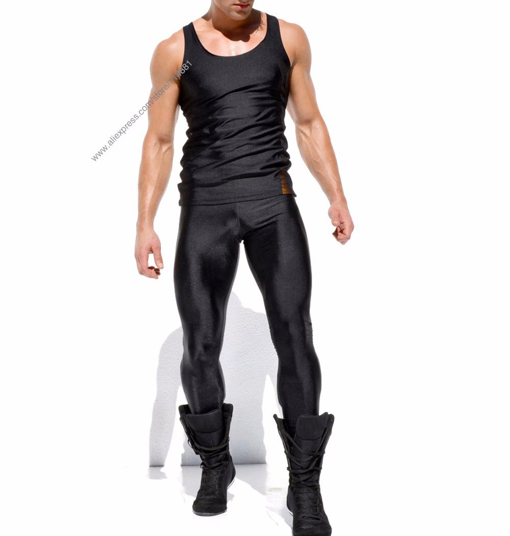 Men\'s Sexy Tight Pants Fashion Full Length Pants Casual Slim Fitted Sweatpants Elastic Men\'s Active Pro Wokrout Pants  (1)