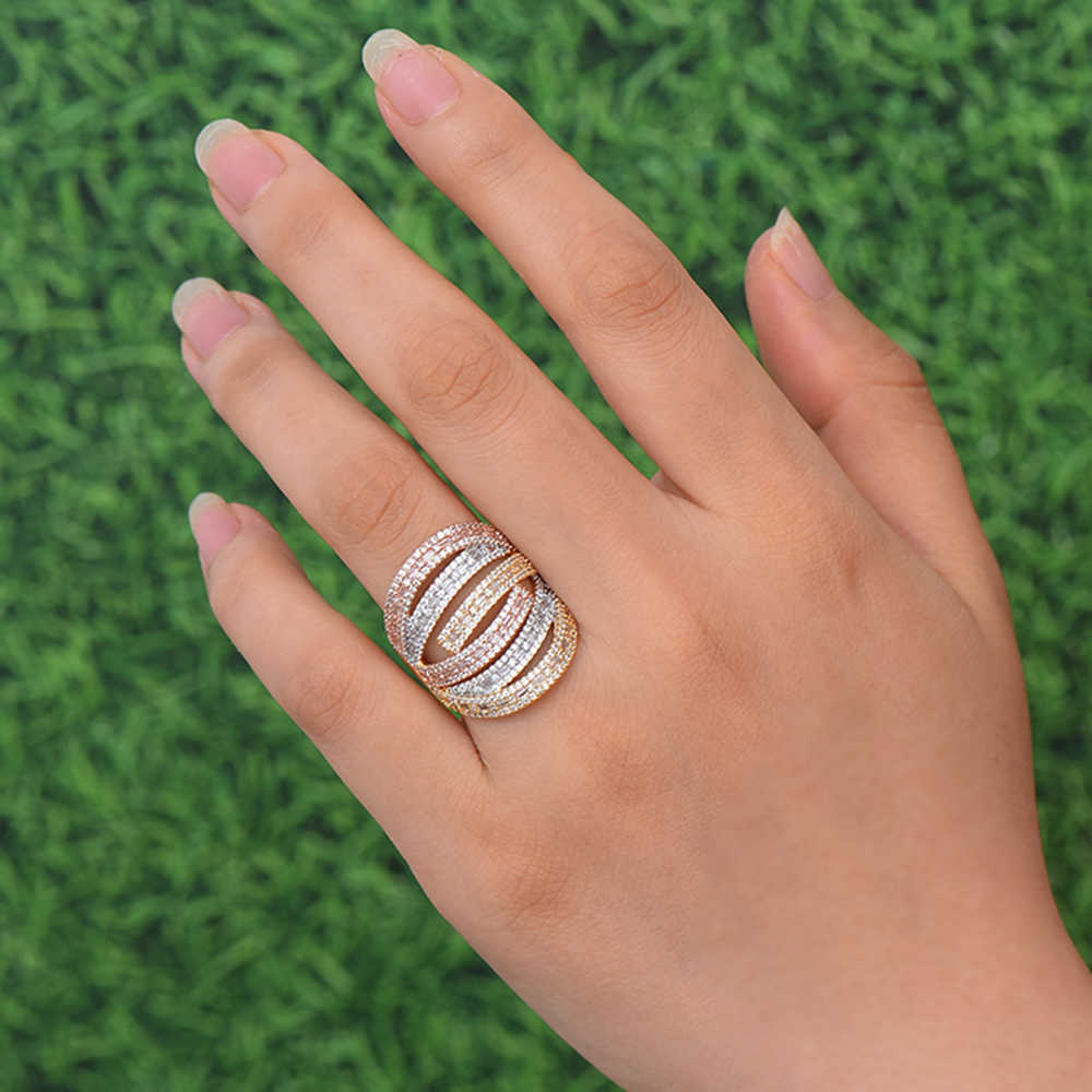 GODKI หรูหราใหม่ Stacks Zircon CZ Stackable แหวนสำหรับเจ้าสาวงานแต่งงานดูไบ Gold แหวน