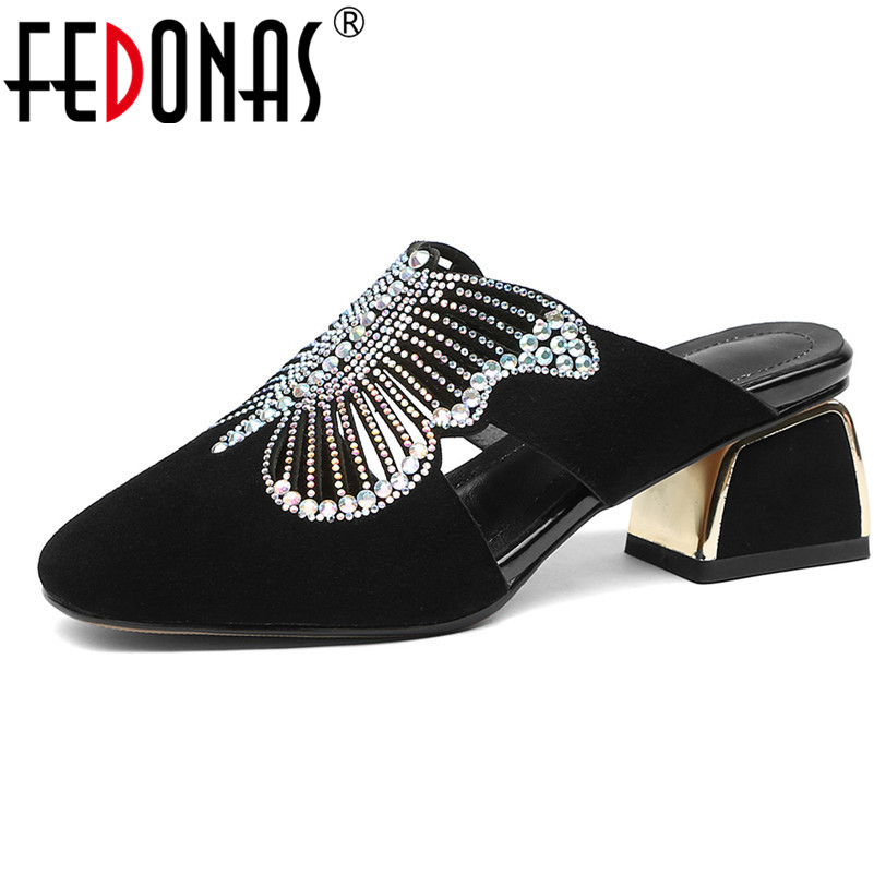 FEDONAS New 2019 Fashion Women Pumps Rhinestone Square Heels Sandals Party Spring Summer Shoes Casual Basic Elegant Shoes Woman