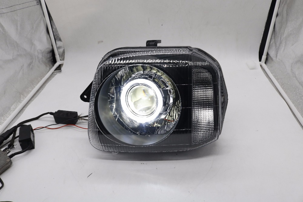 Sanvi Headlight assembly with 4300K hid bulbs, Q5 lens, white angel eye for SUZUKI jimny sanvi headlights assembly for k ia k5 q5 projector lens led angel eye and day running light