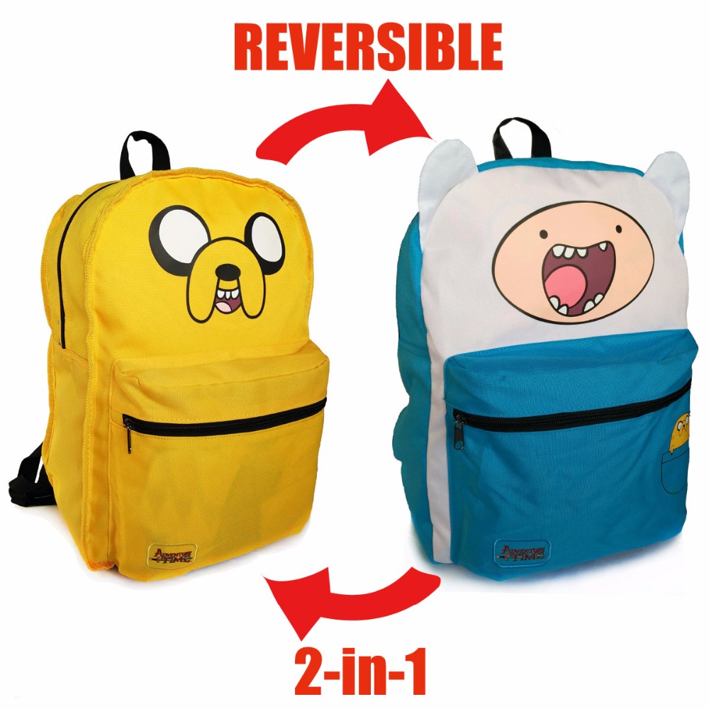 Ecoparty1Boys Girls Casual Schoolbag Knapsack Original Adventure Time Backpack Canvas Bag Finn and Jake Double Sided