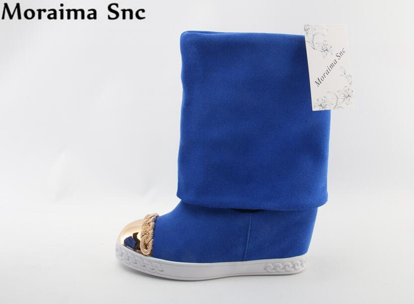 Moraima Snc Brand Concise type metal Round toe Turned-over patchwork Height increasing slip-on casual boots blue moraima snc brand sneakers female summer black pink sexy cut out zapatillas mujer casual metal round toe height increasing shoes