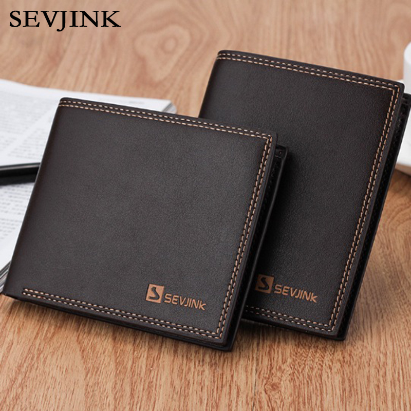 SEVJINK wallet carteira masculina men purse wallets short carteras leather famous purses portefeuille home brand mens walet baellerry high quality men leather wallets vintage male wallet three hold purse for men short purses carteira masculina d9150