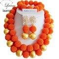 Мода костюм комплект ювелирных изделий нигерии свадебный африканские бусы комплект ювелирных изделий orange ball ABD672