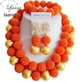 Moda costume set jóias wedding nigeriano beads africanos set jóias orange bola abd672