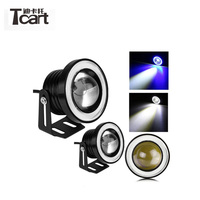 Tcart 1Set Auto LED Fog Light With Lens COB Angel Eyes High Power 89mm Projector Halo Rings 3.5 Inch Fog Lamp For Mitsubishi ASX
