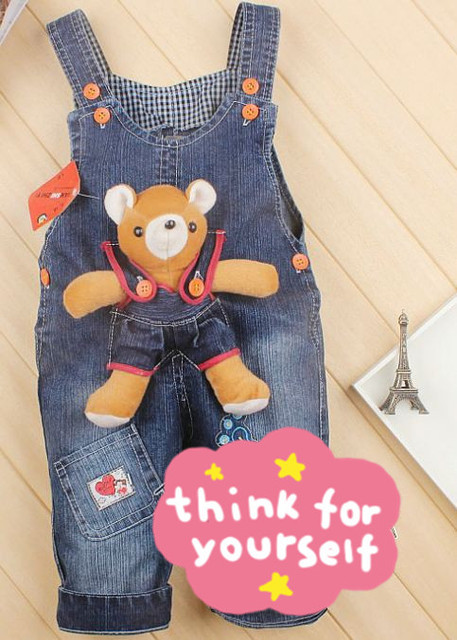 Spring of child and baby cartoon denim overalls free delivery in stock