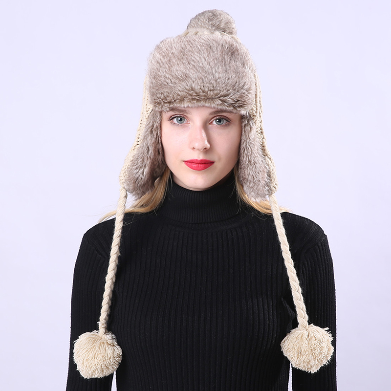 Winter Bomber Hat Russian Hat Earflaps Cap Protect Warm Thicken Knitting Bomber Hat For Women Woolen Bonnet Cap Pompom Ball Delicacies Loved By All