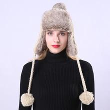 Invierno bombardero sombrero ruso sombrero Earflaps Cap proteger cálido  espesar bombardero tejer sombrero para las mujeres lana . ebfcd0b3755