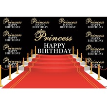 Laeacco Princess Prince Happy Birthday Red Stair Carpet Baby Scene Photographic Background Photography Backdrop For Photo Studio
