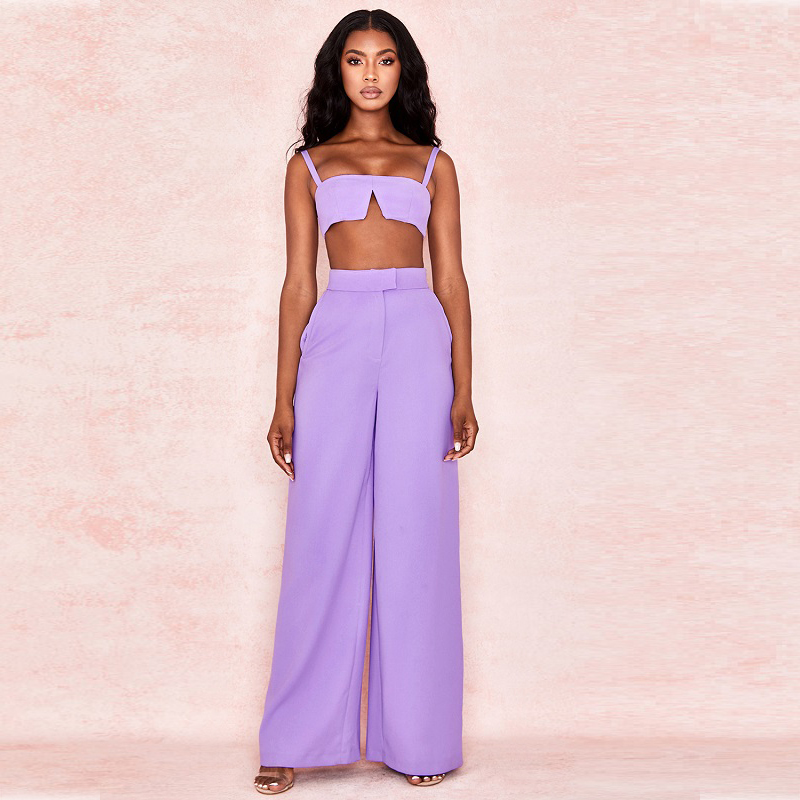 2019 nouveautés mode Spaghetti sangle deux pièces violet combinaison pour femmes célébrité fête combinaison en gros