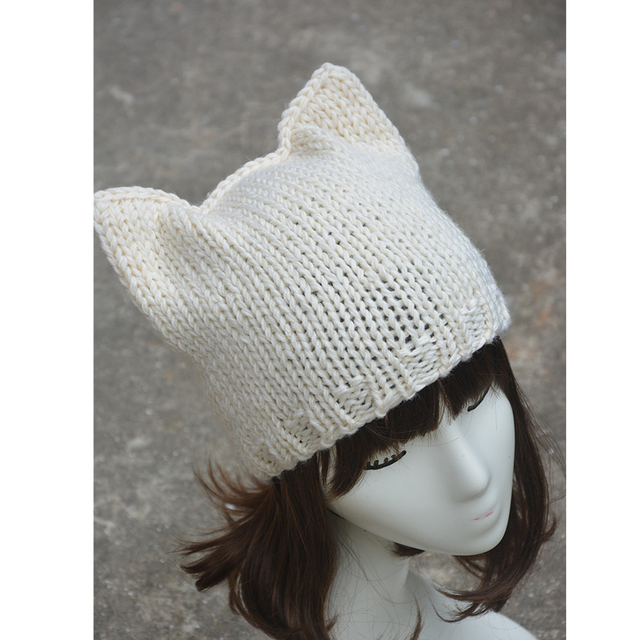 Ivory Simple Cute Cat Ear Meow Kitty Woman Wool Knitting Beanie Hats for Women Handmade Adult Girl Warm Winter CapA127