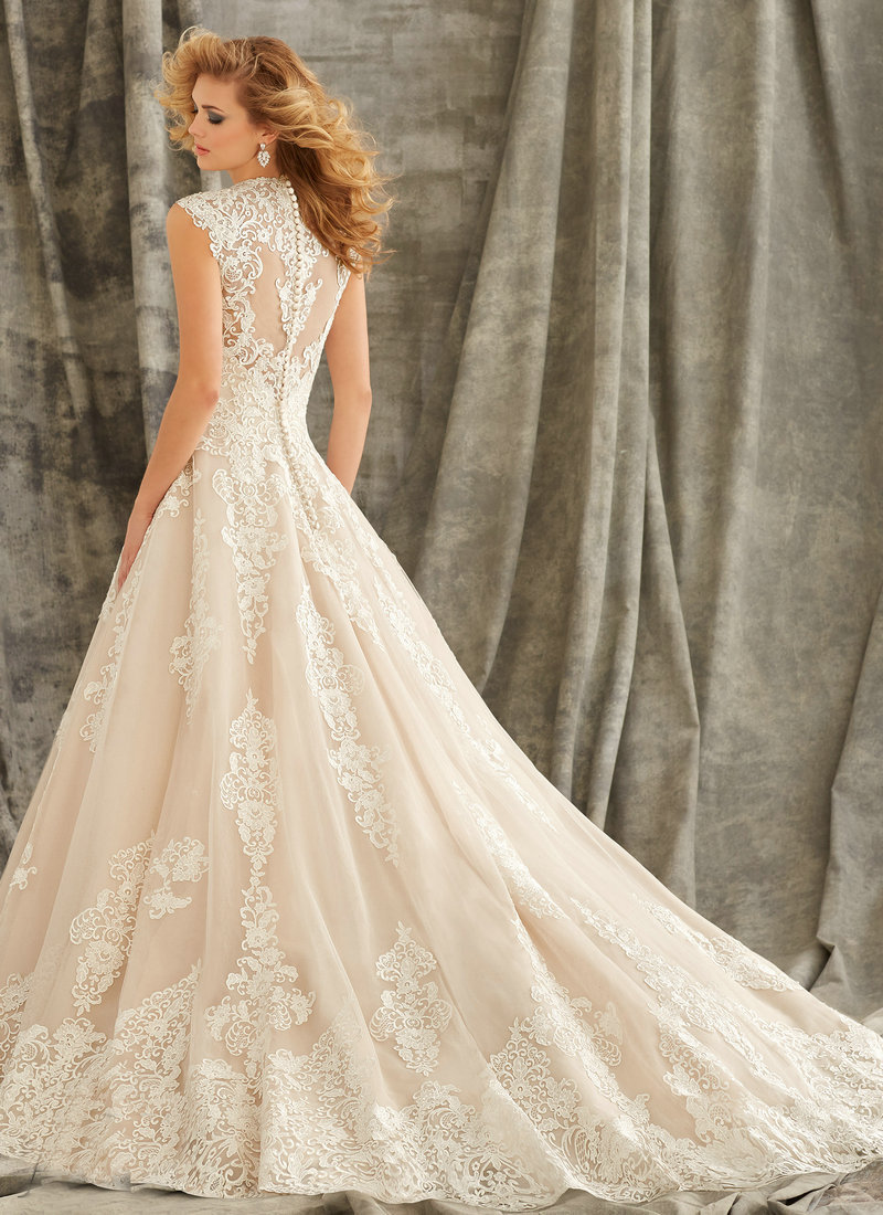 1344 Cap Sleeve Wedding Gowns 2015 Ivory Lace Dress Illusion Back With Button Ball Gown Dresses Brides In From Weddings Events On