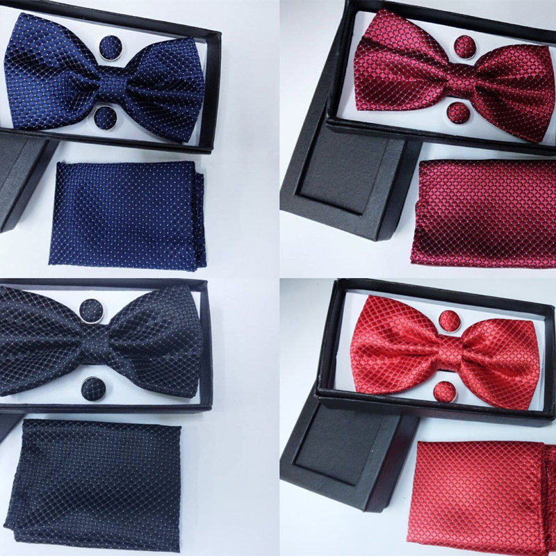 SHENNAIWEI New Men Vintage Jacquard Bow Tie Set Bowtie Handkerchief Cufflinks Gift Box Red Blue Yellow