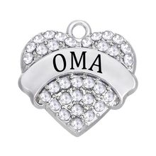 Personalized Engraved Wholesale White Crystal OMA Charm Custom Name Tags Jewelry(China)