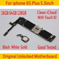 Оригинальный разблокированный для iphone 6 S Plus 5,5 дюймов материнская плата с сенсорным ID, чистый iCloud для iphone 6 S Plus материнская плата 16 Гб 64 Гб 128 Г