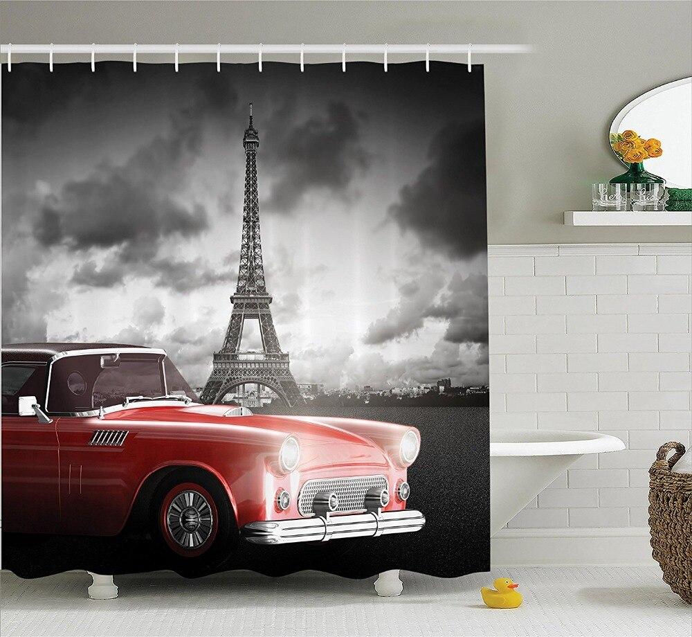 divertido retro coches y pars torre eiffel cortina de ducha cortinas de ducha de polister impermeable