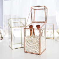 Dustproof Glass Makeup Storage Box Metal Edge Cosmetics Organizer Case Clear Detachable Storage Box