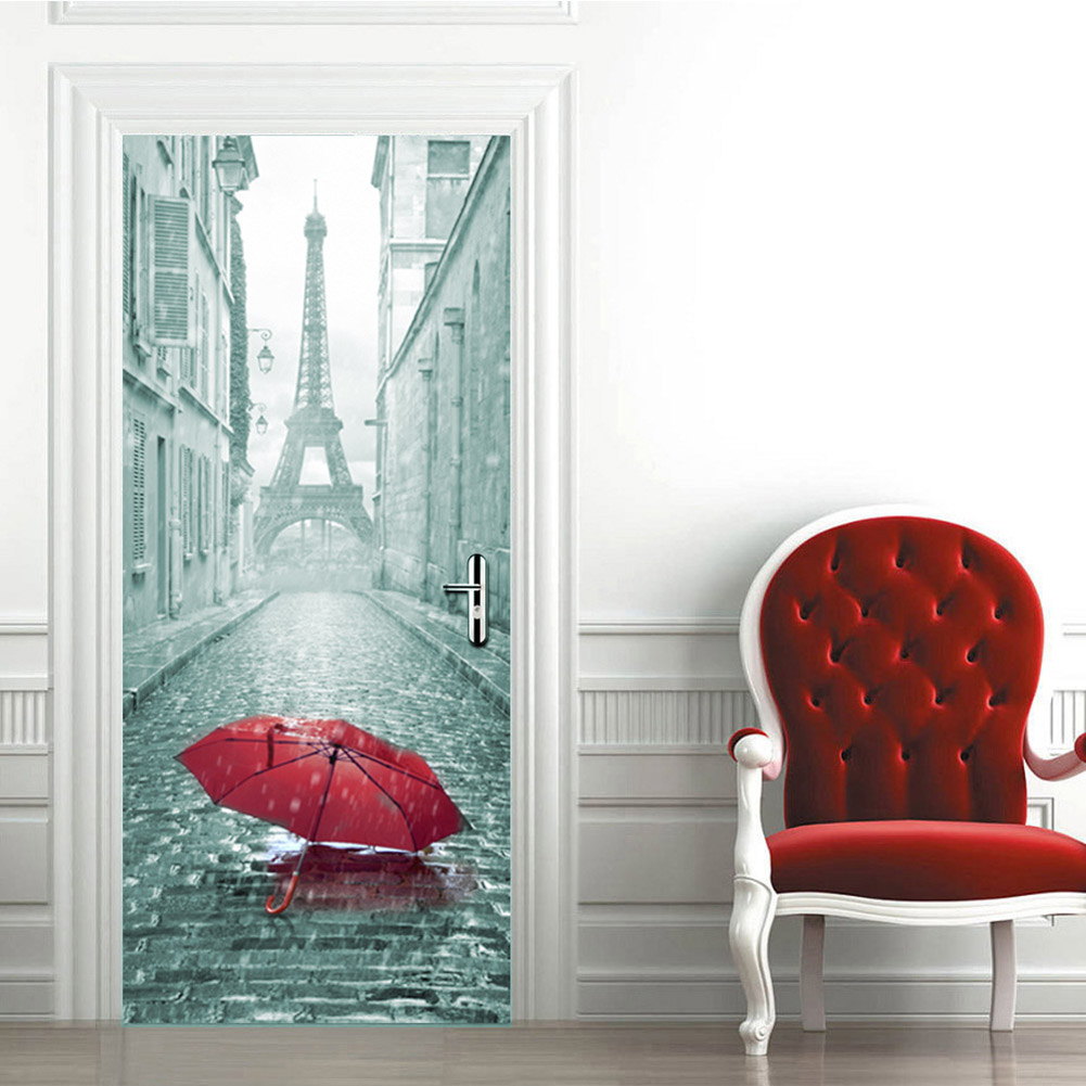 2pcs 3D Umbrella self-adhesive Gate Bedroom Door Stickers Home Kids Room Art Wall Decals Door Simulation Wallpaper 38.5X200 cm
